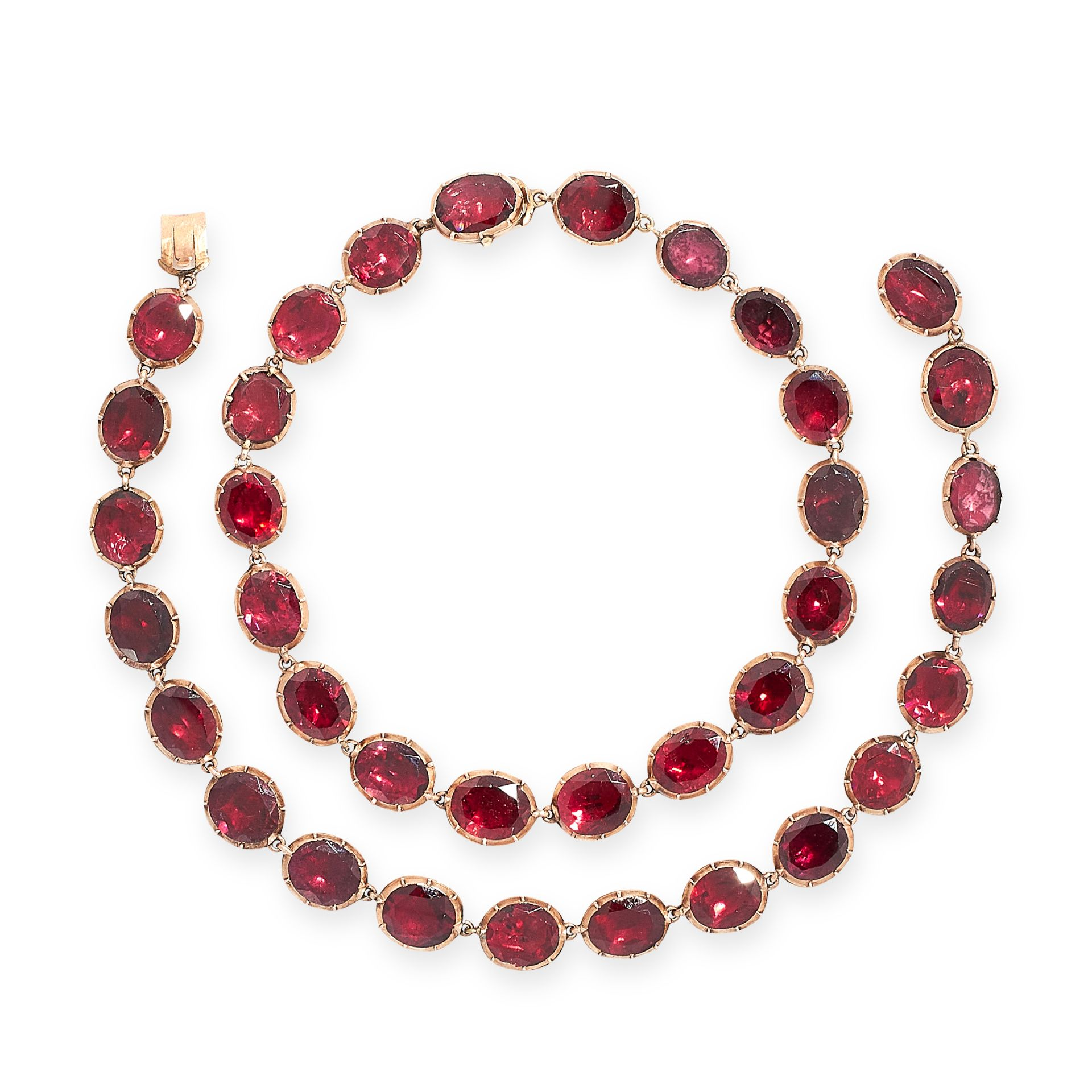 AN ANTIQUE GARNET RIVIERE NECKLACE, 19TH CENTURY in yellow gold, comprising of a single row of - Image 2 of 2