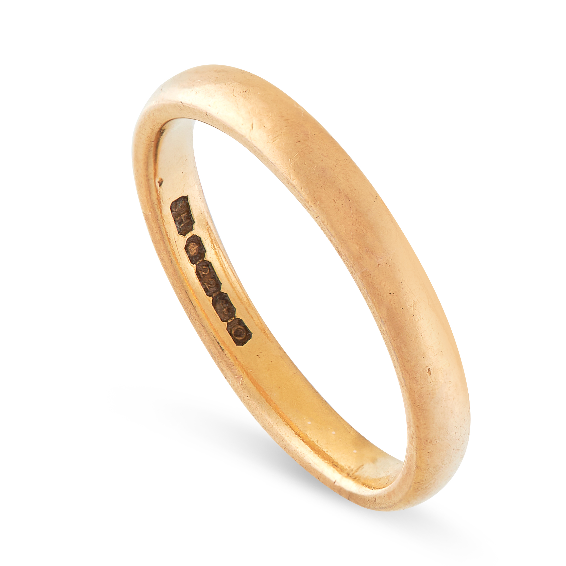THREE WEDDING BAND RINGS in 22ct yellow gold, British hallmarks, sizes M / 6, R / 8.5, O / 7, - Image 4 of 6