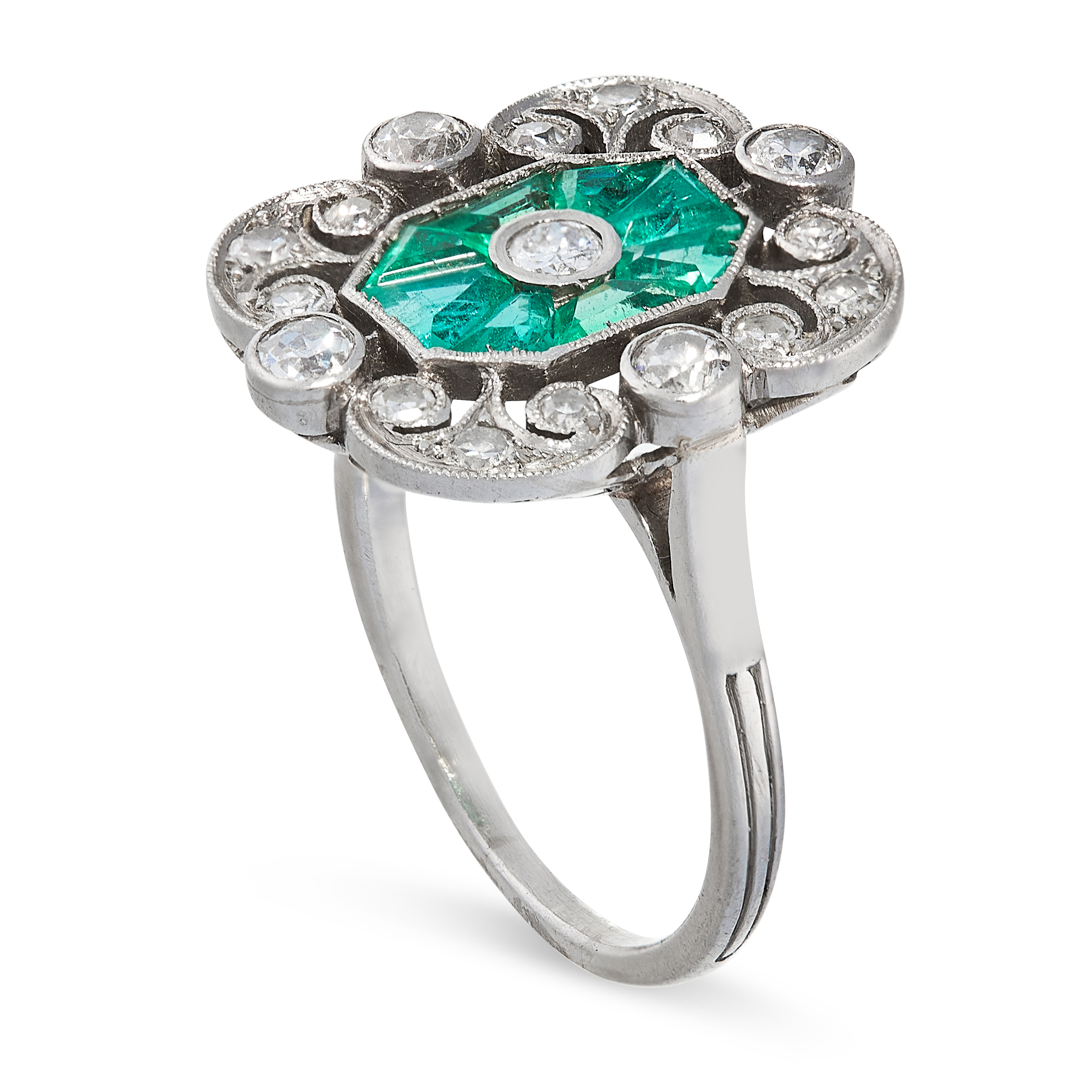 AN EMERALD AND DIAMOND RING in platinum, set with an old cut diamond within an octagonal border of - Image 2 of 2