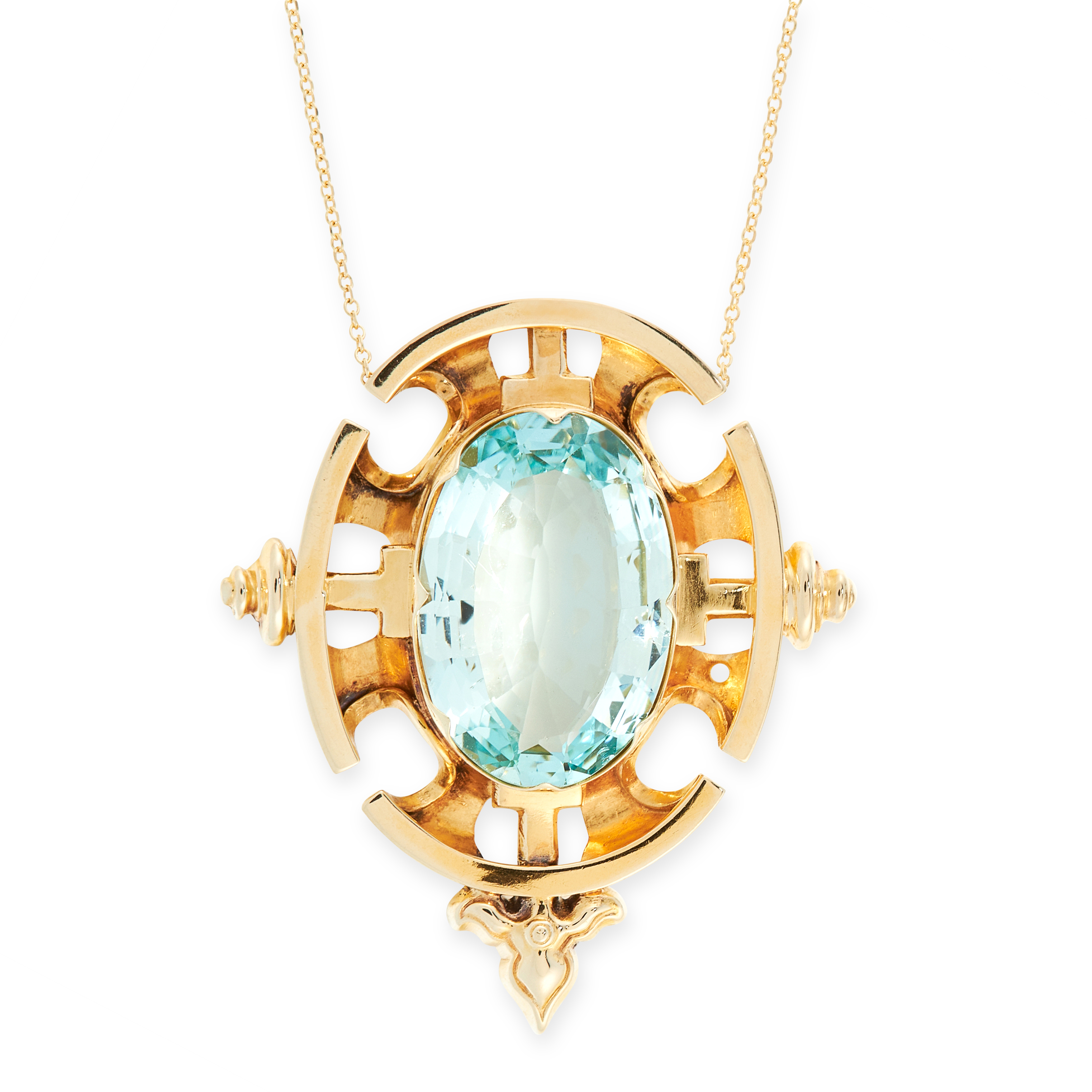 AN AQUAMARINE PENDANT NECKLACE the pendant set with an oval cut aquamarine of 8.46 carats, within an