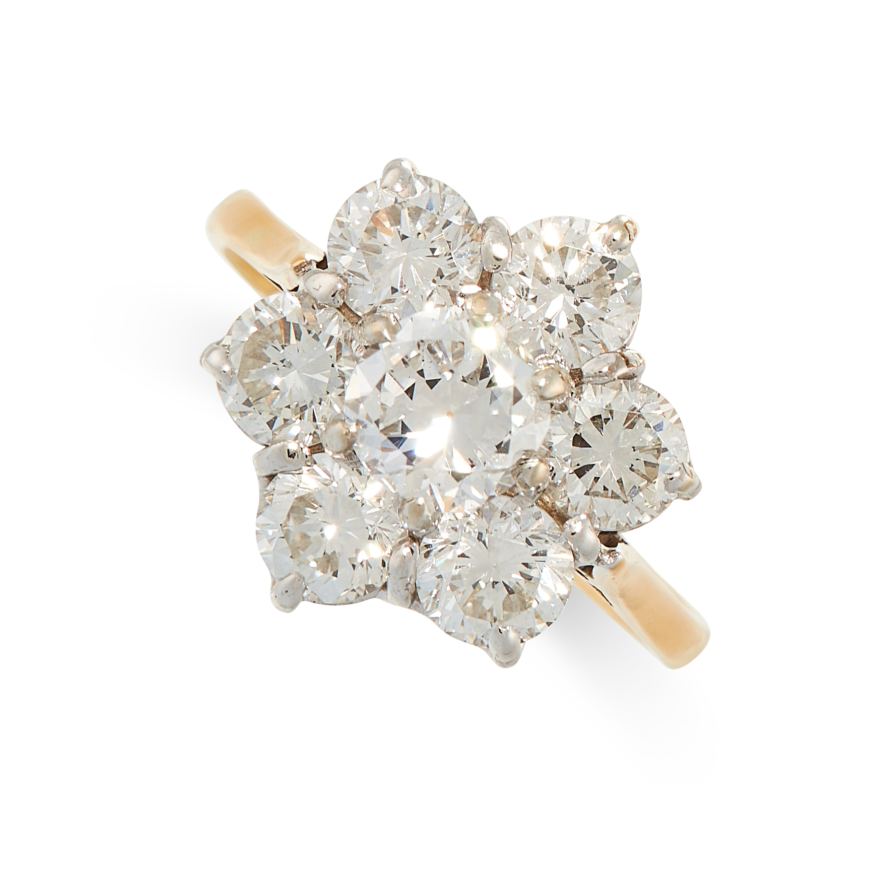 A DIAMOND CLUSTER RING in 18ct yellow gold, set with a principal round cut diamond of 0.61 carats,