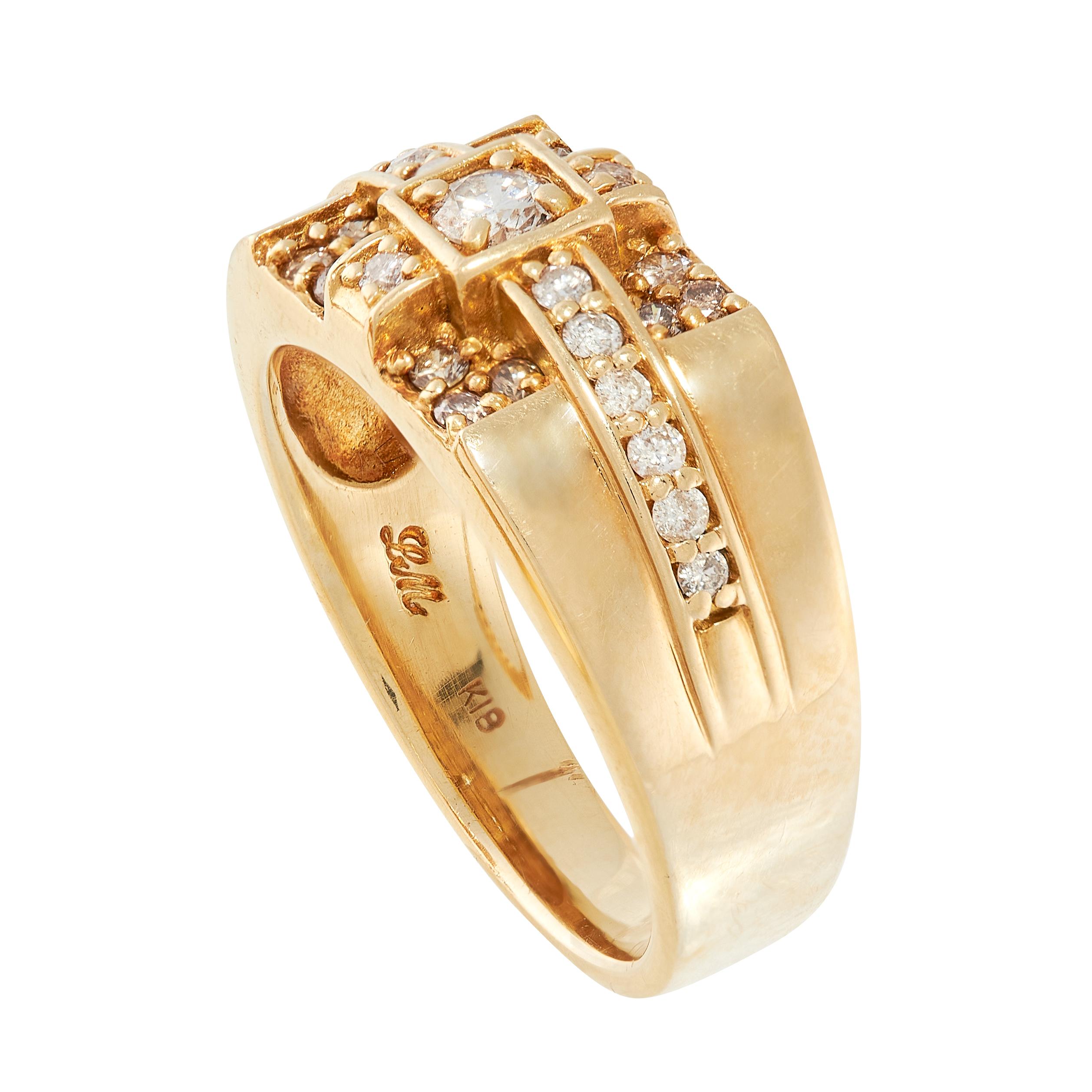 A DIAMOND DRESS RING in 18ct yellow gold, set with round cut diamonds, full British hallmarks, - Image 2 of 2