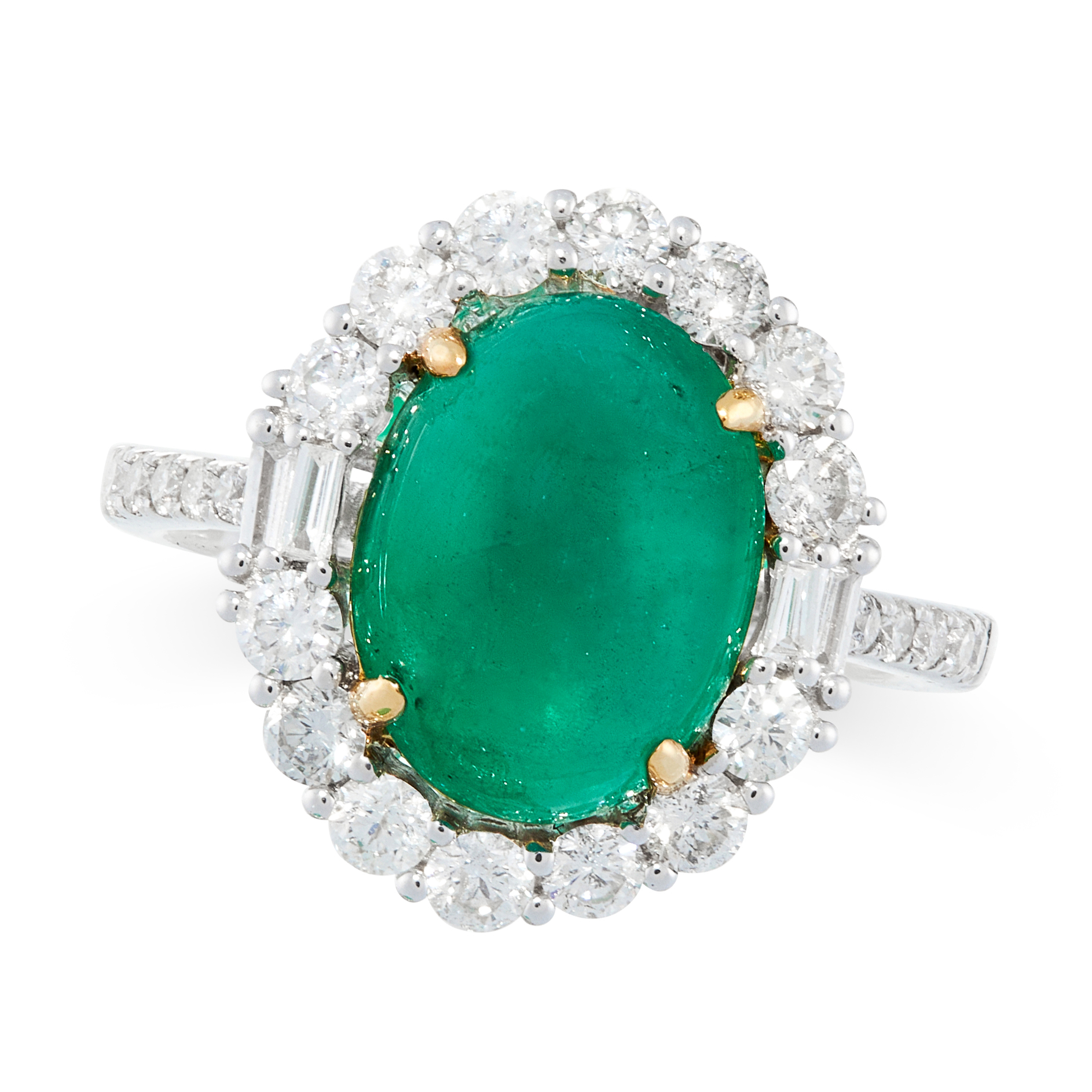 AN EMERALD AND DIAMOND RING in 18ct white gold, set with an oval cabochon emerald of 3.31 carats,