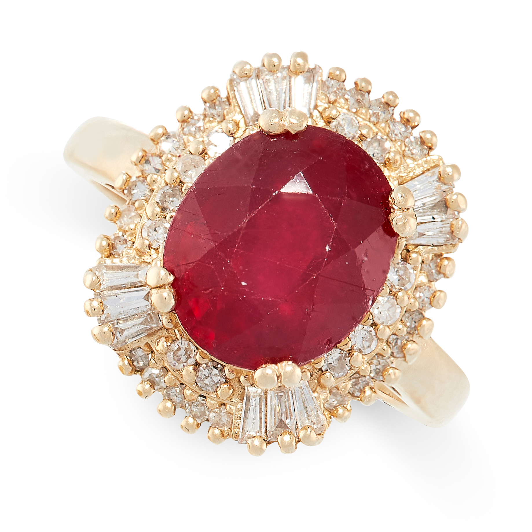 A RUBY AND DIAMOND RING in 14ct yellow gold, designed as a cluster, set with an oval cut ruby of 4.
