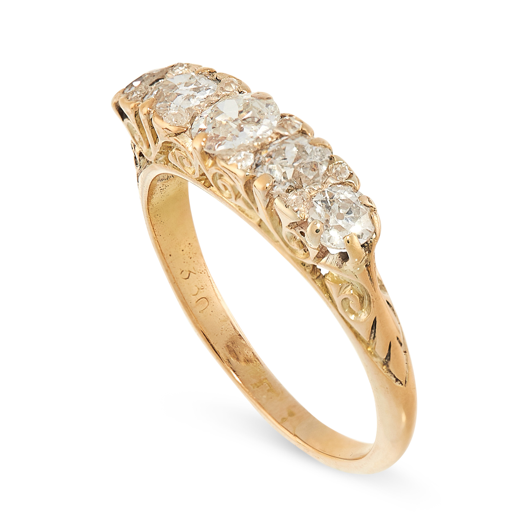 A DIAMOND FIVE STONE RING in 18ct yellow gold, the band set with five graduated old cut diamonds - Image 2 of 2