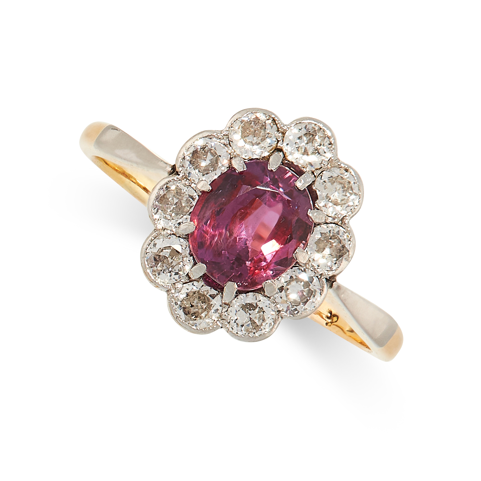AN UNHEATED RUBY AND DIAMOND RING in 18ct yellow gold, set with an oval cut ruby of 1.42 carats,