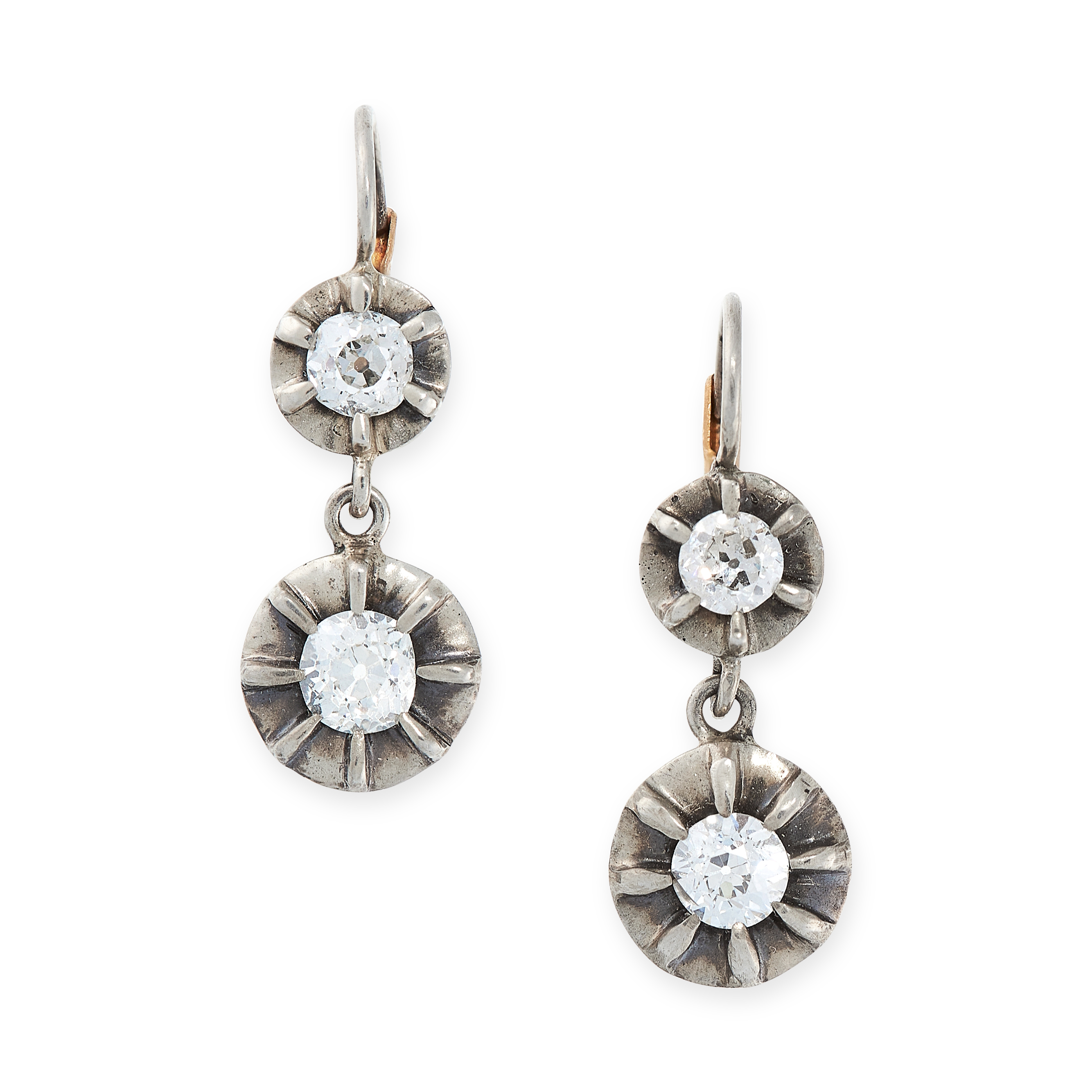 A PAIR OF DIAMOND DROP EARRINGS in yellow gold and silver, each formed of two articulated circular