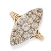 A DIAMOND RING in 18ct yellow gold, the navette face pave set with round cut diamonds, full