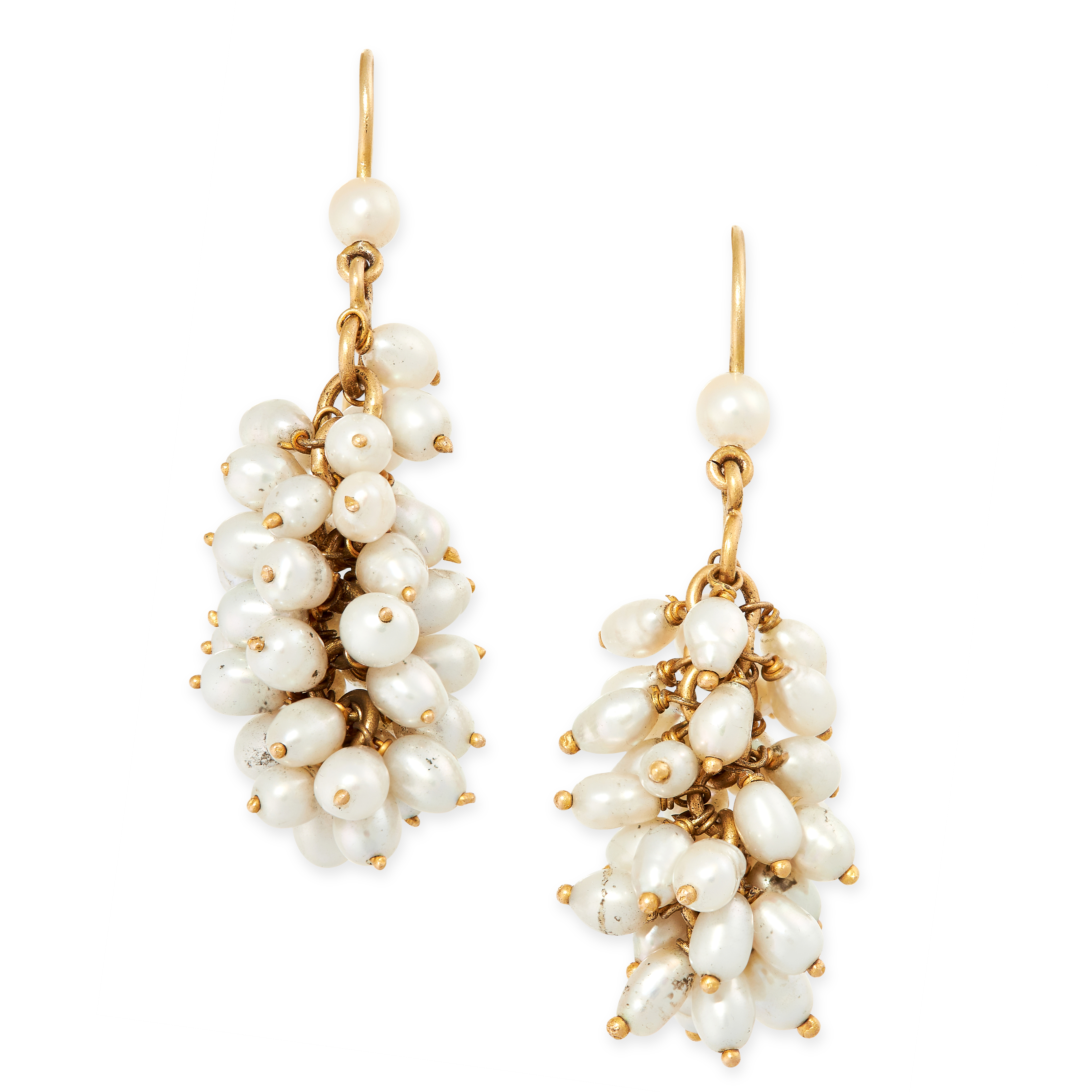 A PAIR OF PEARL EARRINGS each designed as a cluster of suspended pearls, no assay marks, 5.5cm 15.