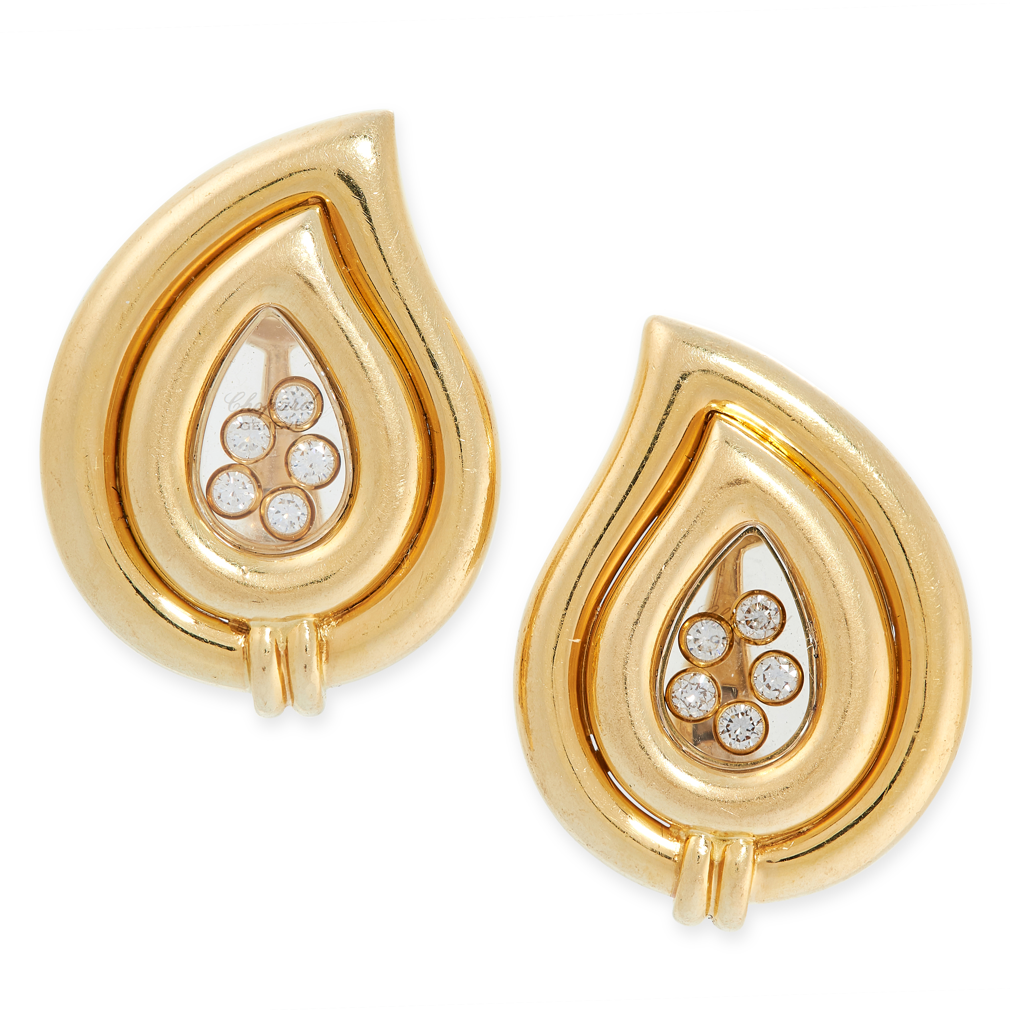 A PAIR OF HAPPY DIAMOND CLIP EARRINGS, CHOPARD in 18ct yellow gold, of drop shaped design, each