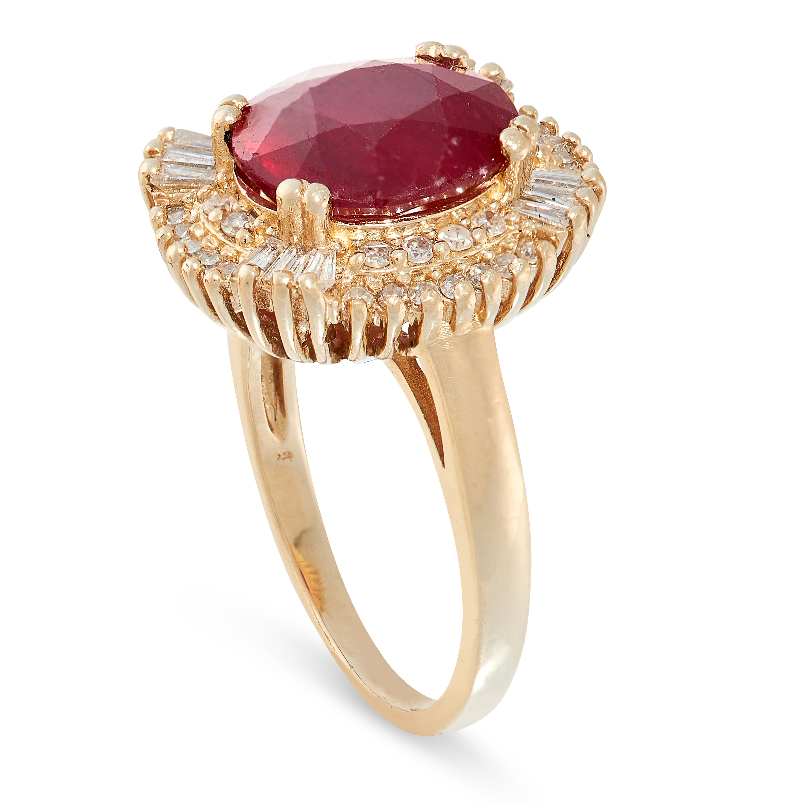 A RUBY AND DIAMOND RING in 14ct yellow gold, designed as a cluster, set with an oval cut ruby of 4. - Image 2 of 2