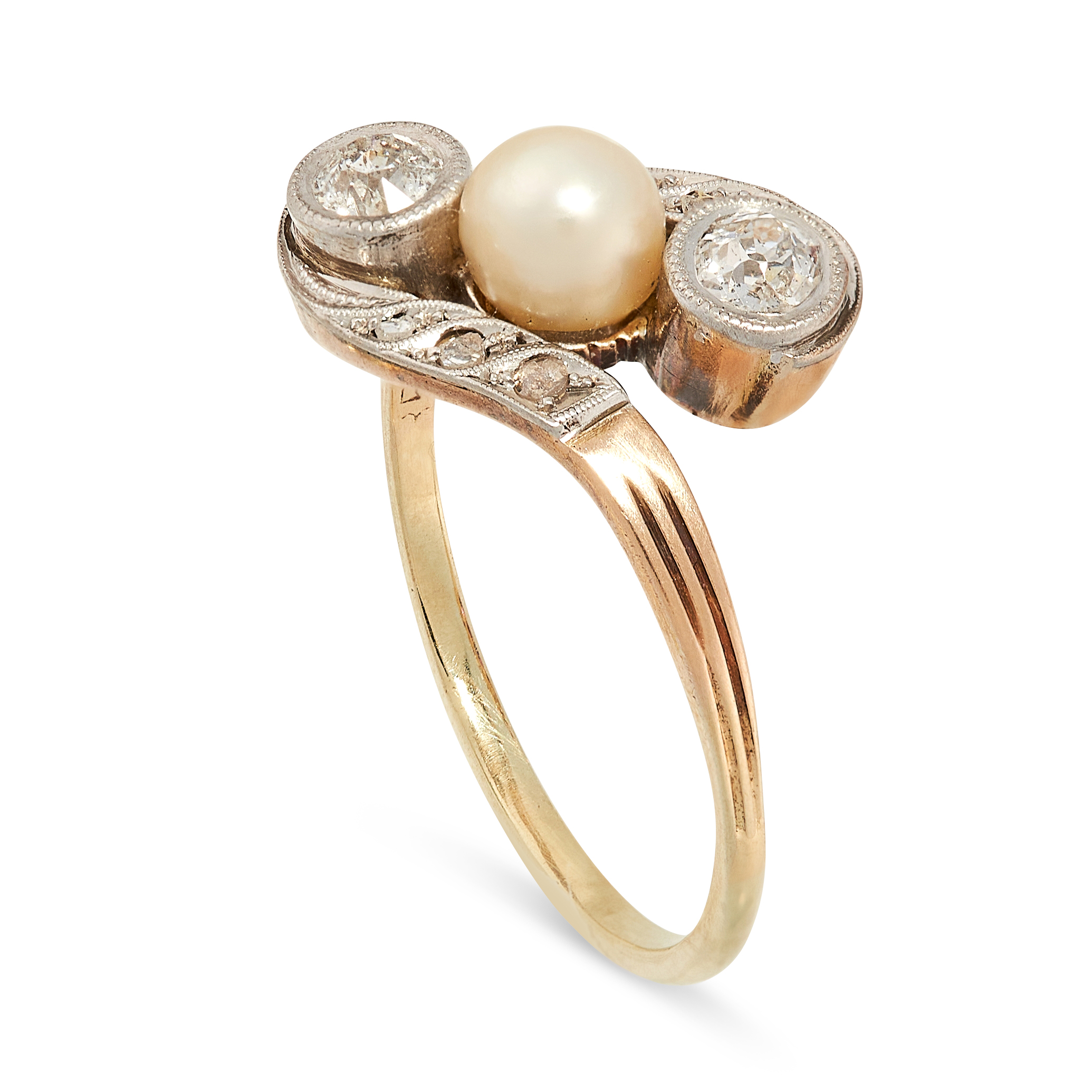A PEARL AND DIAMOND DRESS RING, CIRCA 1940 in 14ct yellow gold, of twisted design, set with a - Image 2 of 2