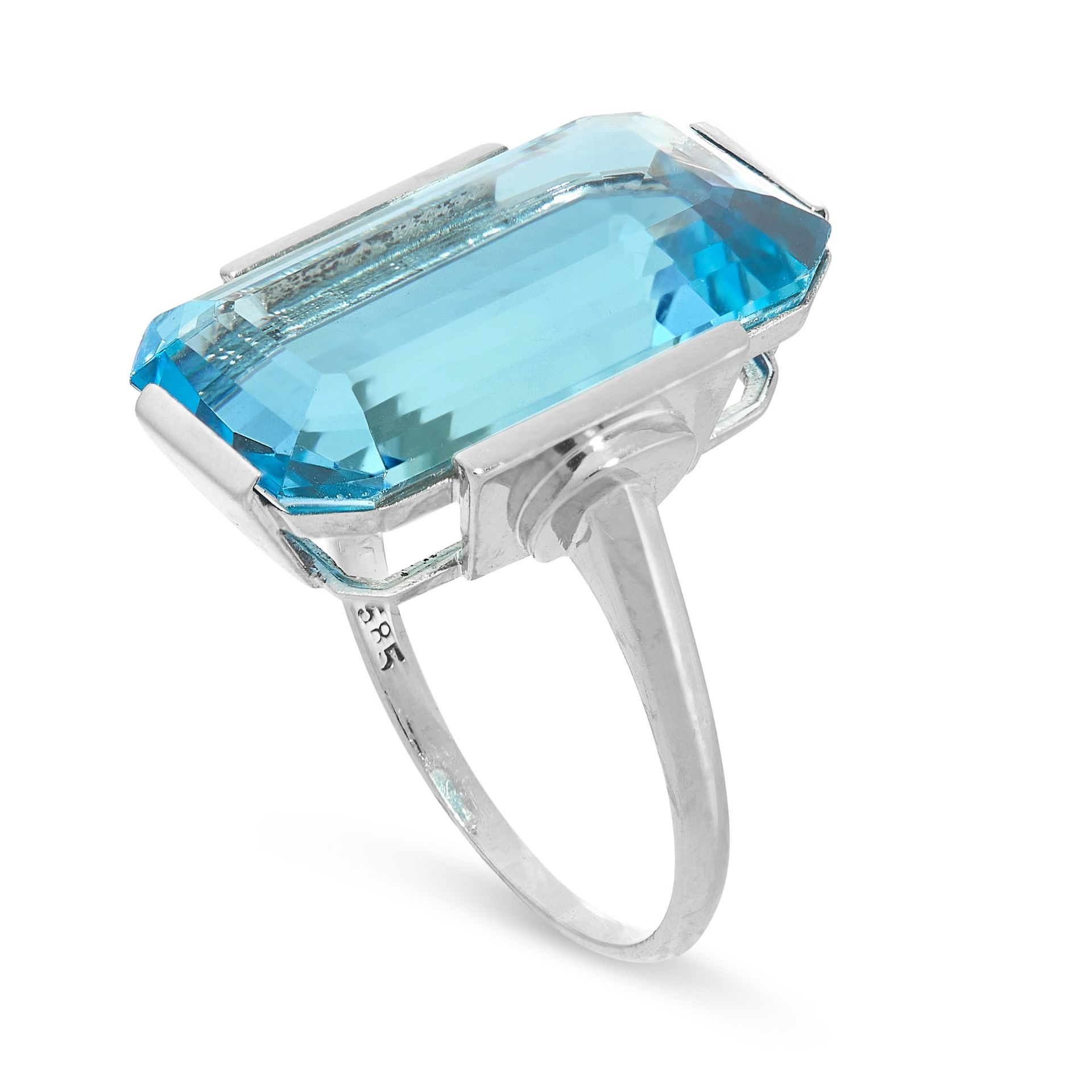 A FINE AQUAMARINE DRESS RING in 14ct white gold, set with an emerald cut aquamarine of 15.23 carats, - Image 2 of 2