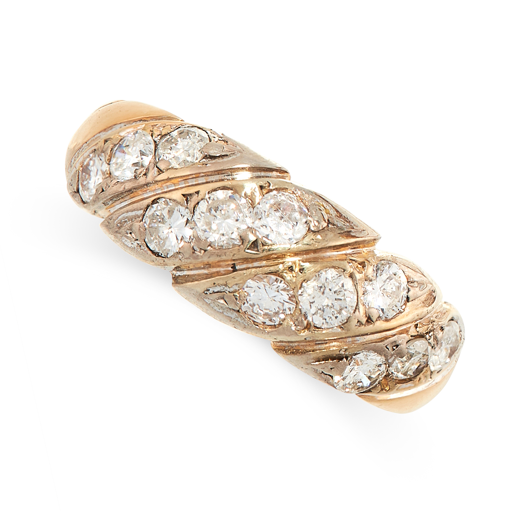 A VINTAGE DIAMOND DRESS RING in yellow gold, the tapered band set with rows of round cut diamonds,