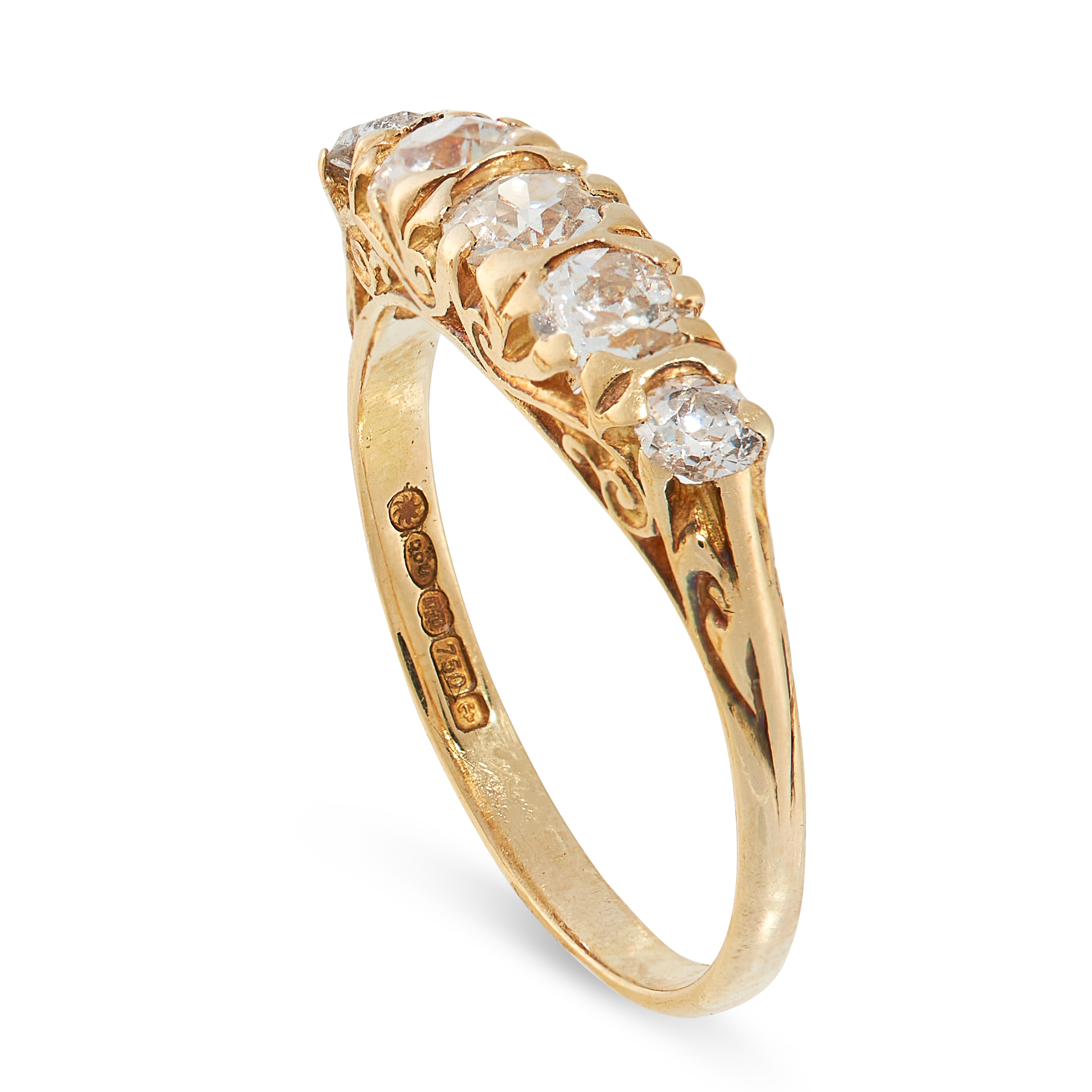 A DIAMOND FIVE STONE RING in 18ct yellow gold, set with five graduated old cut diamonds, British - Image 2 of 2