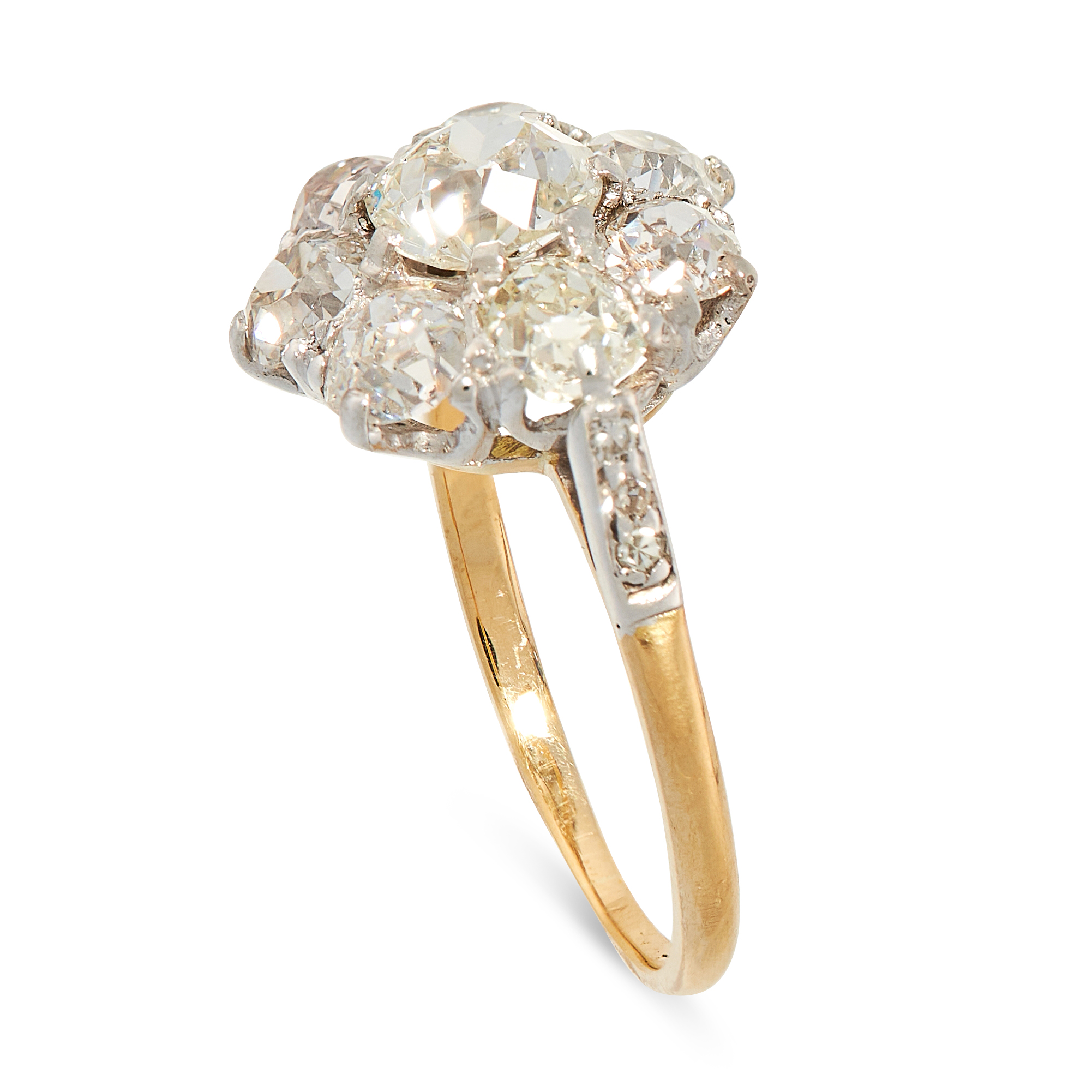 AN ANTIQUE DIAMOND CLUSTER RING, EARLY 20TH CENTURY in 18ct yellow gold, set with a central old - Image 2 of 2