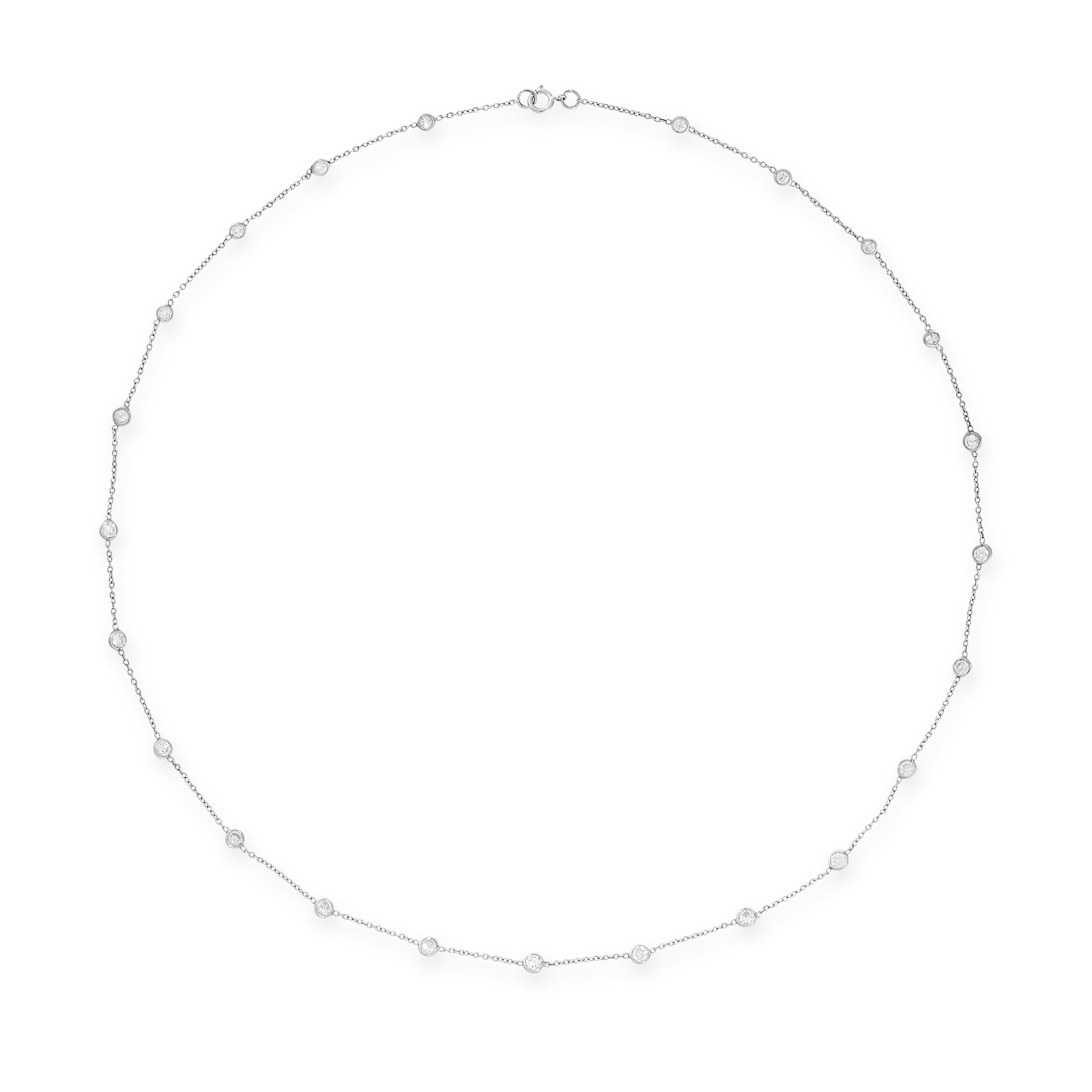 A DIAMOND NECKLACE the belcher link chain punctuated by twenty-three bezel set round cut diamonds,