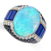 AN OPAL, LAPIS LAZULI, SAPPHIRE AND DIAMOND COCKTAIL RING, FEI LIU in 18ct white gold, of bombe