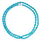 A VINTAGE TURQUOISE, LAPIS LAZULI AND DIAMOND SAUTOIR NECKLACE comprising a single row of eighty-