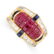 A VINTAGE RUBY, SAPPHIRE AND DIAMOND COCKTAIL RING, CIRCA 1980 in 18ct yellow gold, mystery set with