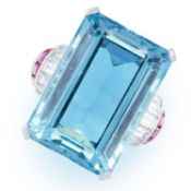 A VINTAGE AQUAMARINE, RUBY AND DIAMOND RING, CIRCA 1950 in platinum, set with an emerald cut