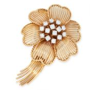 A VINTAGE DIAMOND FLOWER BROOCH, CARTIER in 18ct yellow gold, set to the centre with a cluster of