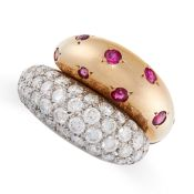 A VINTAGE FRENCH RUBY AND DIAMOND DRESS RING in 18ct yellow gold and platinum, the crossover band of