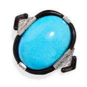 AN ART DECO TURQUOISE, ENAMEL AND DIAMOND RING set with an oval cabochon turquoise within borders of