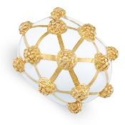 A VINTAGE ENAMEL COCKTAIL RING in 18ct yellow gold, in the manner of David Webb, of bombe design,