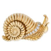 A VINTAGE DIAMOND SNAIL BROOCH, RENE BOIVIN in 18ct yellow gold, designed as a snail, relieved in