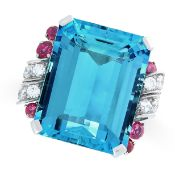 AN EXCEPTIONAL AQUAMARINE, RUBY AND DIAMOND RING, TIFFANY & CO CIRCA 1950 set with an emerald cut