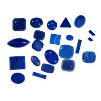 A MIXED LOT OF UNMOUNTED LAPIS LAZULI various round, oval and navette shaped cabochon, totalling