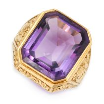 AN ANTIQUE AMETHYST BISHOPS RING in yellow gold, set with an emerald cut amethyst of 20.09 carats,