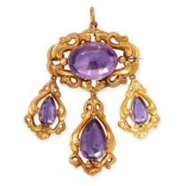 AN ANTIQUE AMETHYST MOURNING LOCKET PENDANT / BROOCH, 19TH CENTURY in yellow gold, set with an