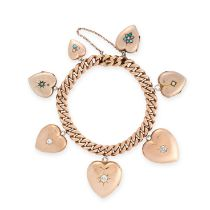 AN ANTIQUE DIAMOND, TURQUOISE AND PEARL HEART LOCKET CHARM BRACELET in yellow gold, the curb link