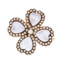AN ANTIQUE MOONSTONE AND PEARL CLOVER BROOCH / PENDANT, CIRCA 1890 in yellow gold, set with four
