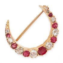 AN ANTIQUE BURMA NO HEAT SPINEL, RUBY AND DIAMOND CRESCENT MOON BROOCH, 19TH CENTURY in yellow gold,