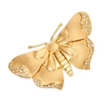 A DIAMOND BUTTERFLY BROOCH in 18ct yellow gold, designed as a butterfly, with textured body and