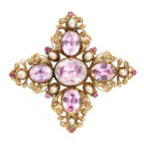 AN ANTIQUE PINK TOPAZ, PEARL AND RUBY BROOCH, 19TH CENTURY in yellow gold, designed as a cross,