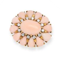 A VINTAGE CORAL AND DIAMOND RING in 18ct yellow gold, set with an oval cabochon coral within
