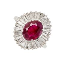 A RUBY AND DIAMOND DRESS RING set with a cushion cut ruby of 1.79 carats, within a ballerina style