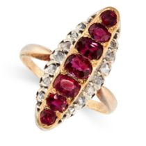 AN ANTIQUE RUBY AND DIAMOND DRESS RING in 18ct yellow gold and silver, set with a row of seven
