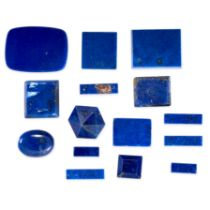 A MIXED LOT OF UNMOUNTED LAPIS LAZULI various round, rectangular and fancy shape cabochon, 101.30