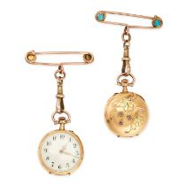 AN ART NOUVEAU TURQUOISE POCKET WATCH BROOCH in 18ct yellow gold, the circular white dial with