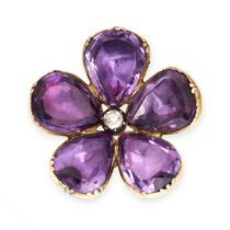 AN ANTIQUE AMETHYST AND DIAMOND BROOCH in yellow gold and silver, designed as a flower, with an