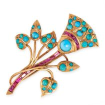 A VINTAGE TURQUOISE AND RUBY BROOCH in 14ct yellow gold, designed as an Egyptian lotus flower,