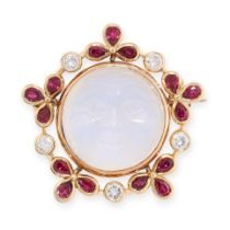A CARVED MOONSTONE, RUBY AND DIAMOND MAN IN THE MOON BROOCH, TOD JEWELS in 18ct yellow gold, set
