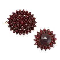 TWO ANTIQUE GARNET BROOCHES one set all over with rose cut garnets and a sunburst brooch set with