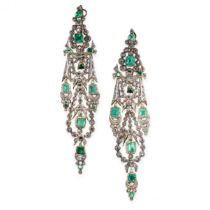 A PAIR OF ANTIQUE SPANISH EMERALD AND DIAMOND EARRINGS, CIRCA 1780 in silver and yellow gold, the