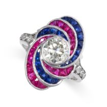 A DIAMOND, RUBY AND SAPPHIRE RING in 18ct white gold, set with a round cut diamond of 1.19 carats,